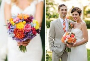 bunga pernikahan penuh warna