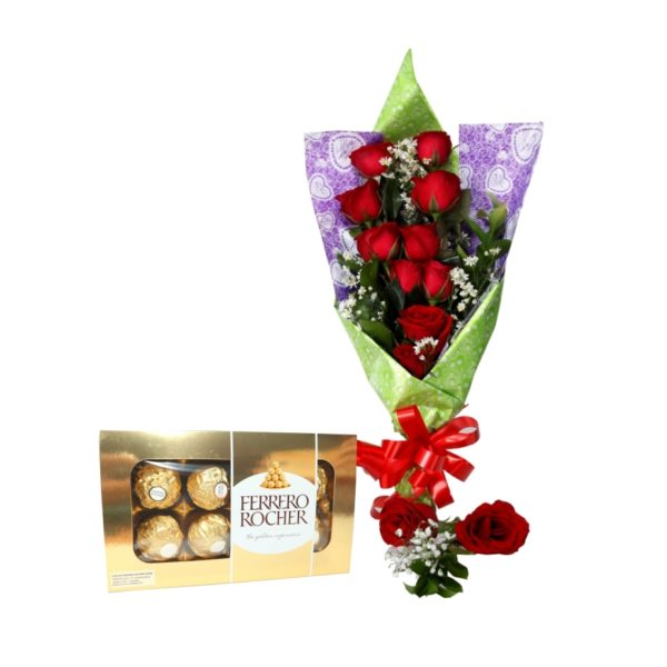 rangkaian buket bunga dan coklat