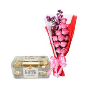 bunga buket dan coklat